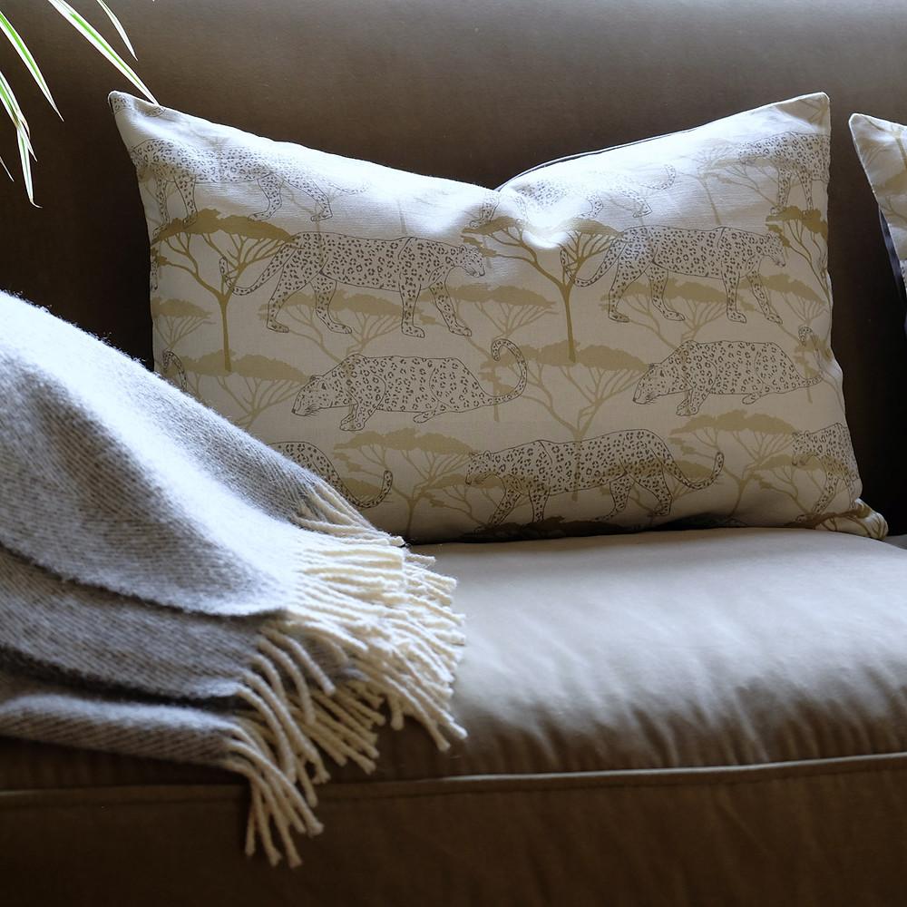 Linen leopard cushions