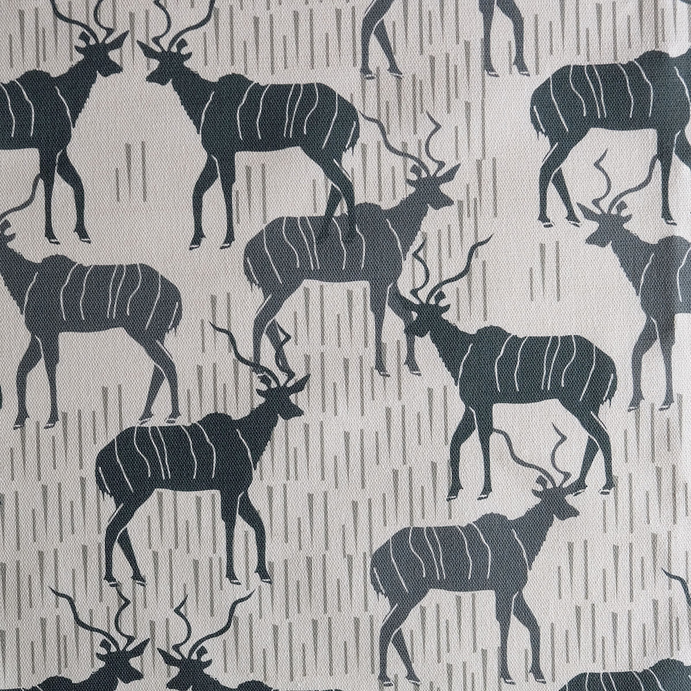 linen fabric showing kudu antelope