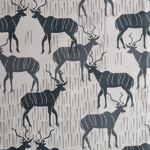 Kudu, Teal and Eucalyptus Linen Fabric