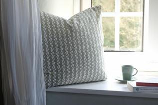 linen cushion in rye grass print