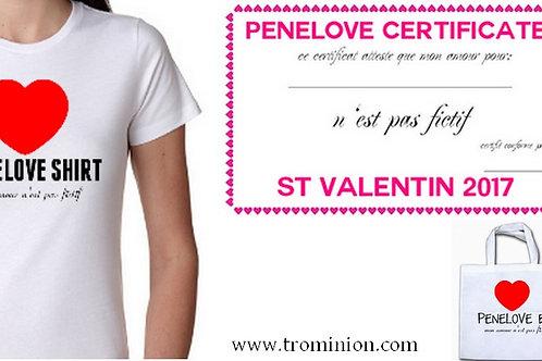 penelove kit  tee shirt sac et certificat