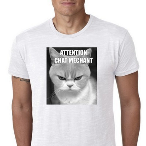 attention chat méchant tshirt