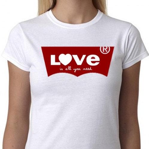LOVE IS ALL YOU NEED TEE SHIRT PARODIE LEVIS SAINT VALENTIN