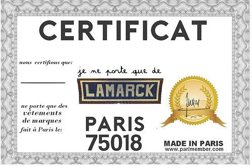certificat je ne porte que de lamark