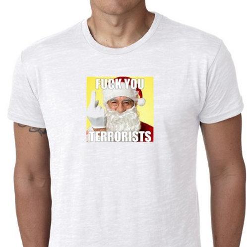 fuck you terrorists santa tee shirt