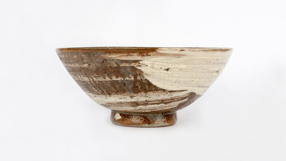 Brown and White Slip Tea Bowl