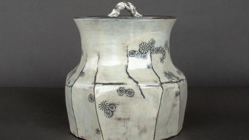Buncheong Lidded Jar With Chrysanthemum Deco
