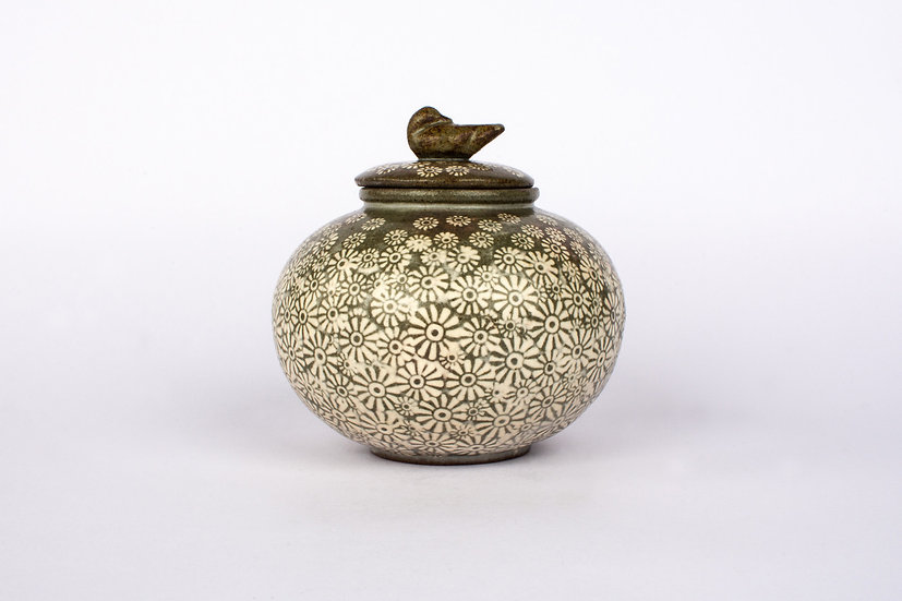 Buncheong Lidded Jar with Duck and Chrysanthemum Deco
