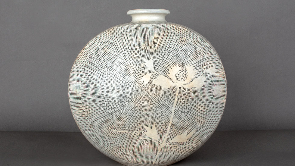 Flattened Buncheong Pot with Flower Deco