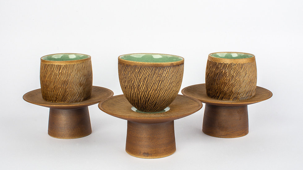 Comb-patterned Tea Set Plate and Cup