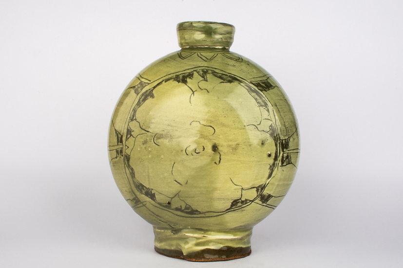 Incised Buncheong Flattened Bottle
