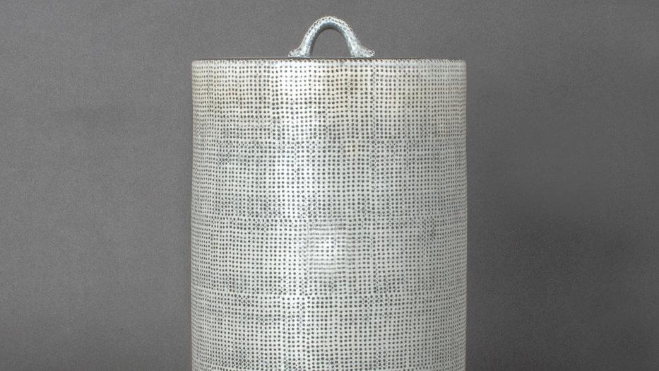 Buncheong Cylinder Shape Lidded Jar