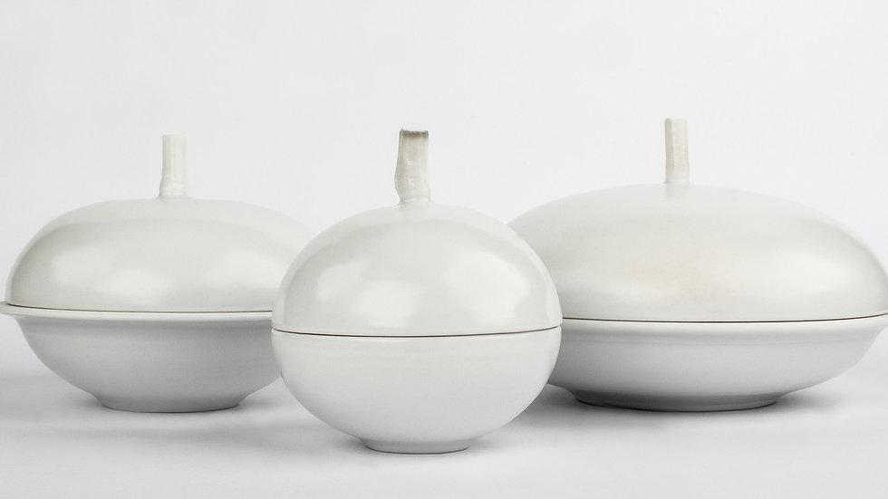White Porcelain Lidded Jars