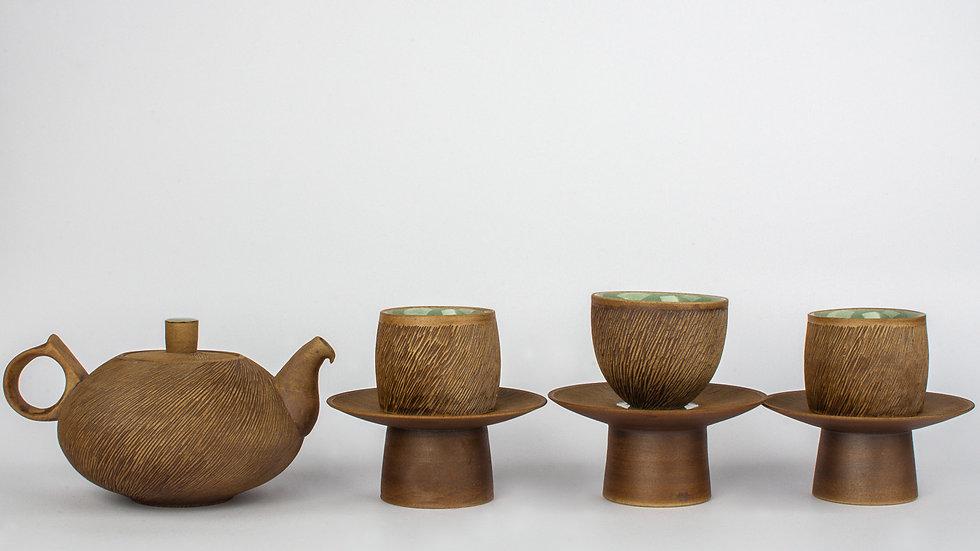 Comb-patterned Tea Set