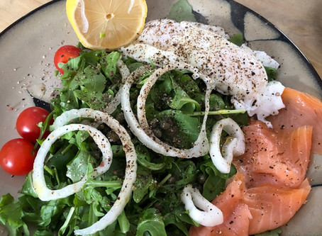Salmon and poached eggs brunch