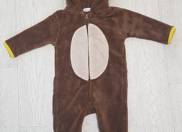 🏴EARLY DAYS. Brown monkey pram suit. Ears on hood. Age 3-6 months.