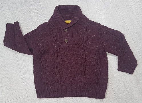 🏴GEORGE. Burgundy knitted jumper. Age 9-12 months.