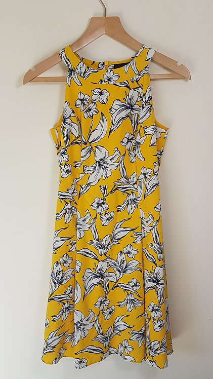 🏴GOK FOR TU. Yellow halter neck dress with flowers. Zip up back. Size 10S.