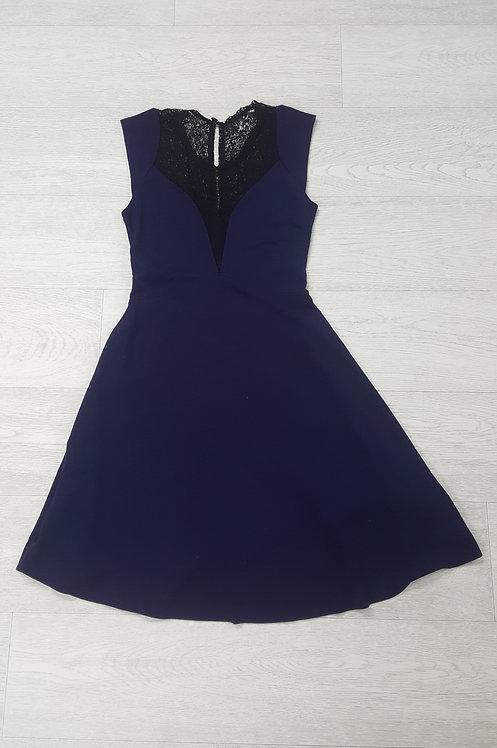 @Navy Jersey Dress with Black Lace Neck Line. Size 8