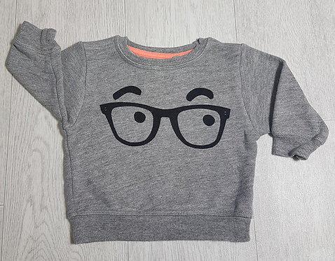 🏴NEXT. Grey jumper with glasses on front. Age 3-6 months.