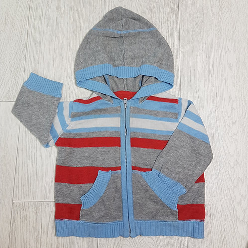 🏴GEORGE. Grey striped zip up fine knit jumper with hood. Age 3-6 months.