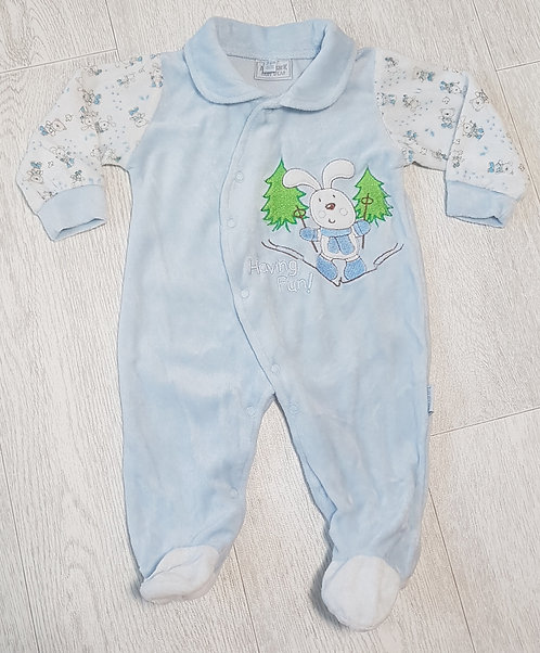 🏴AARDVARK. Blue velor baby grow with collar. Age 3-6 months.