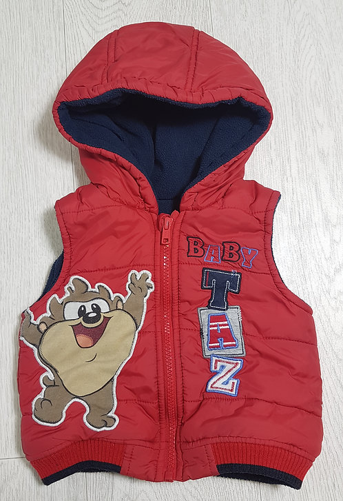 🏴GEORGE. Red Baby Taz body warner with hood. Fleece lining. Age 9-12 months.