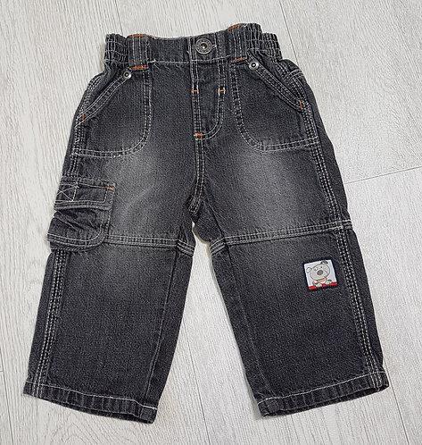 🏴GEORGE. Light black denim trousers. Button up. Elasticated waist. Age 0-3 mon