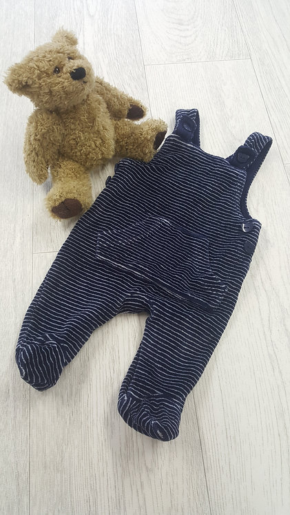 @GEORGE Velour Navy and White Stripe dungarees First Size