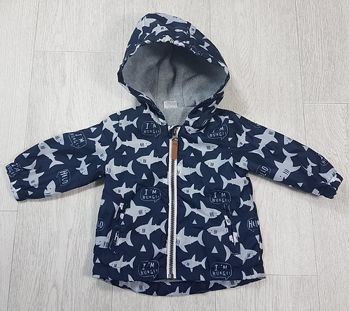 🏴F&F. Navy coat with sharks. Fleece lining. Age up to 3 months.