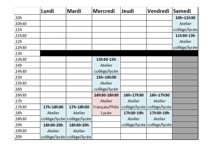 Les horaires pour l'année scolaire 2018-2019