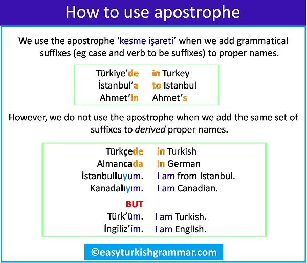 Turkish punctuation marks - apostrophe
