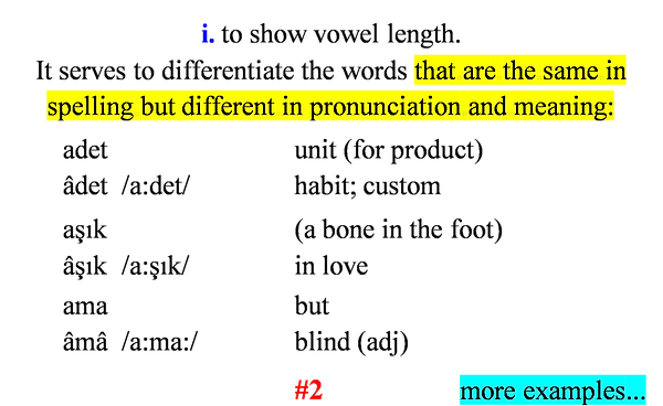 The function of circumflex in Turkish language