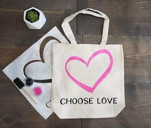 "Love Tote Bag Stencil Kit - 11"" x 13"""