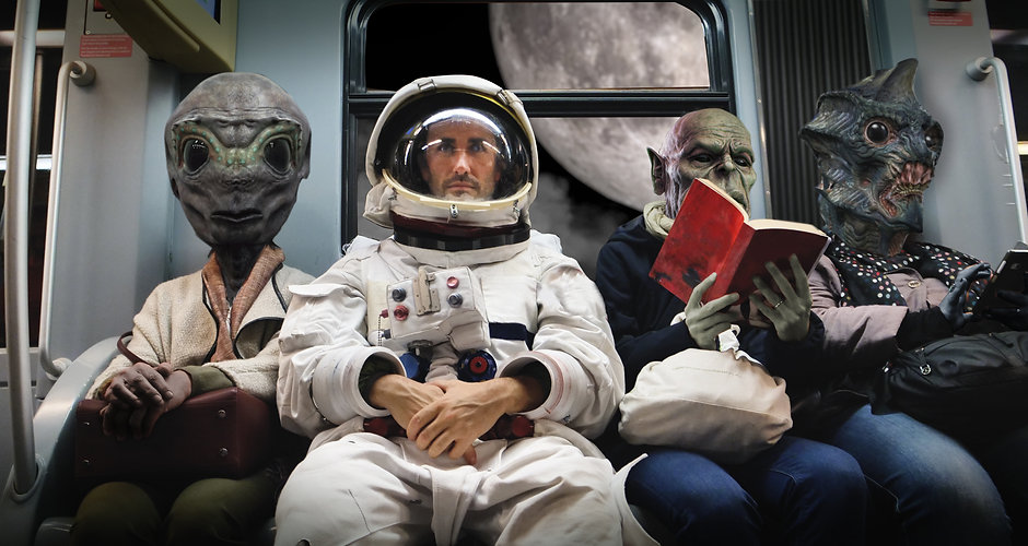 On a spaceship, an astronaut, sitting al