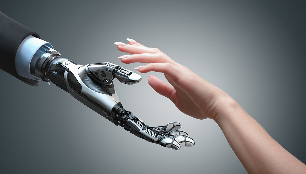 Robot gives a hand to a woman. Two hands in offer position. Artificial intelligence concep