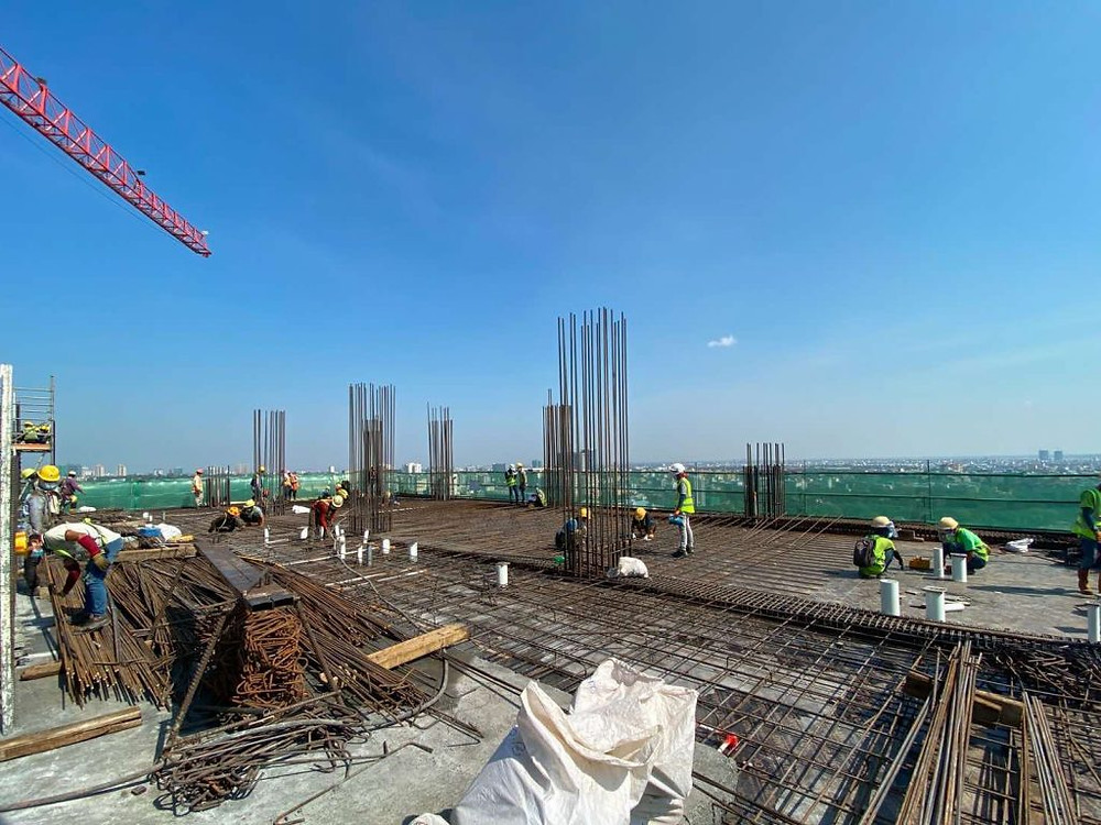 Tower 2 L18 slab (15-19D-G), rebar installation work