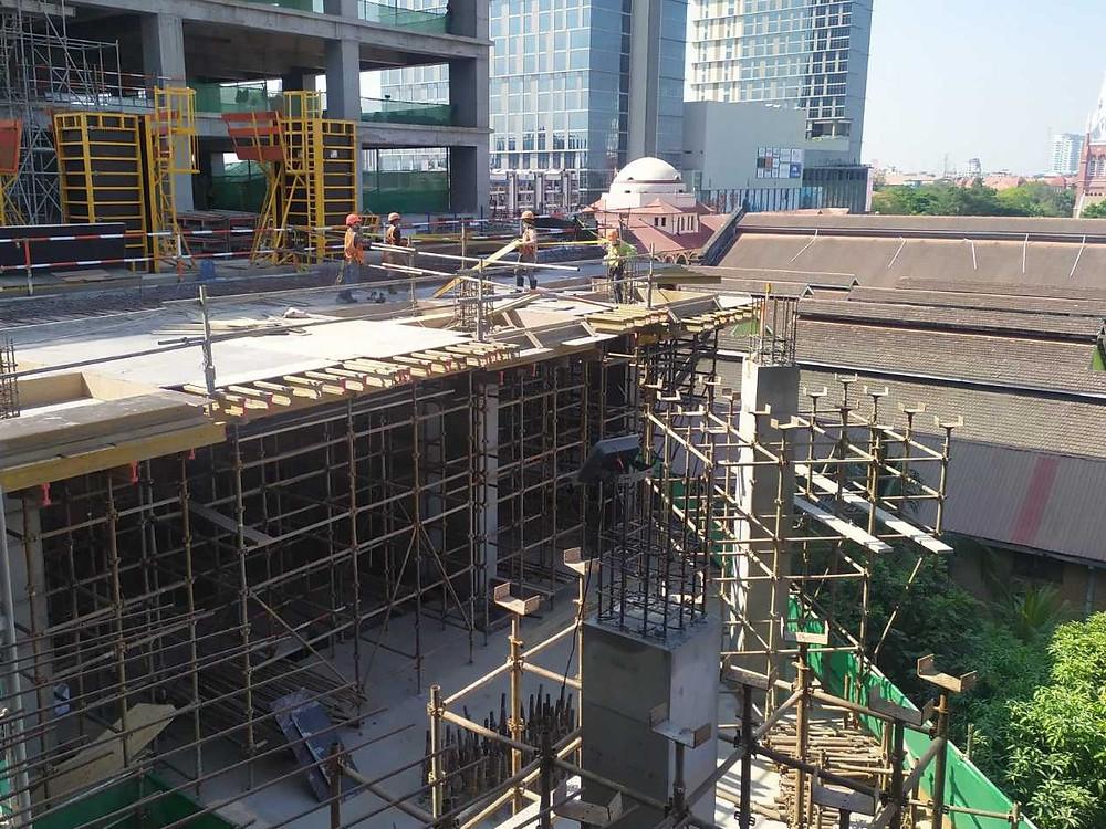 Tower 3 L 5 slab (GL 2-5N-Q), formwork installation work
