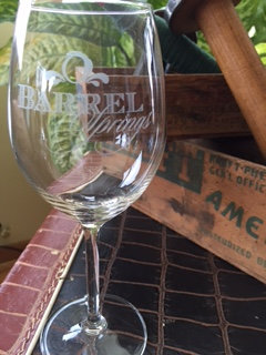 Logo etched wine glass