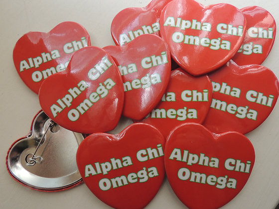Heart Shaped Alpha Chi button