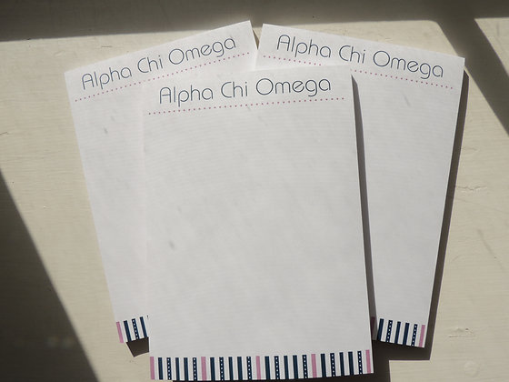 Blue and Pink Alpha Chi notepad