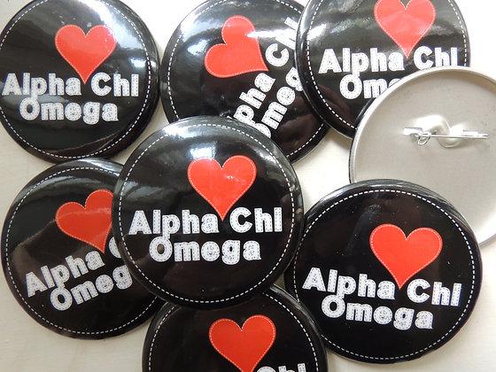 I heart Alpha Chi Omega button