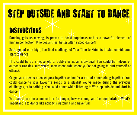 Step outside and start to dance instruct