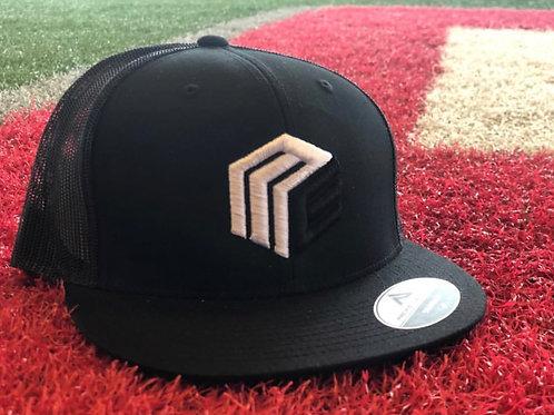Black Trucker Hat (Black/White Logo)