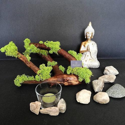 Creangă naturală cu licheni stabilizați dim. 30x25x15 cm.