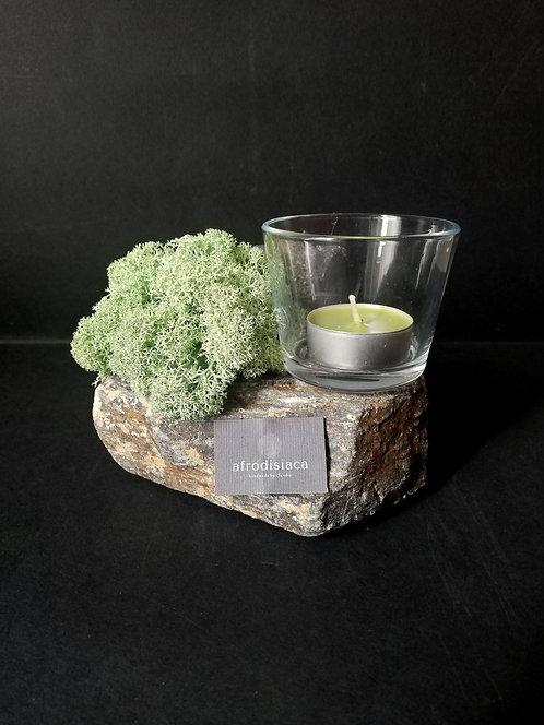 Candelă pe piatră cu licheni stabilizați, vas de sticlă, dim. aprox. 15x15 cm.