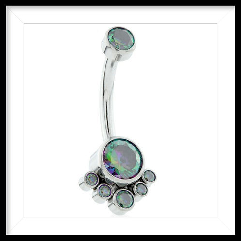 VITRAIL MEDIUM DOUBLE JEWELLED WITH 6 GEM CLUSTER NAVEL BAR