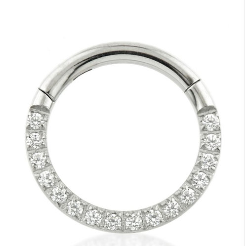 TITANIUM FRONT PAVE ETERNITY CRYSTAL SET HINGED RING