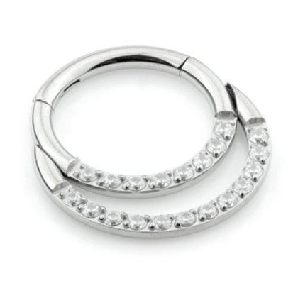 Double Jewelled Daith Titanium Hinge Ring