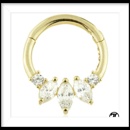 9ct TYSH LYON GOLD HINGED CRYSTAL MARQUESE DAITH RING